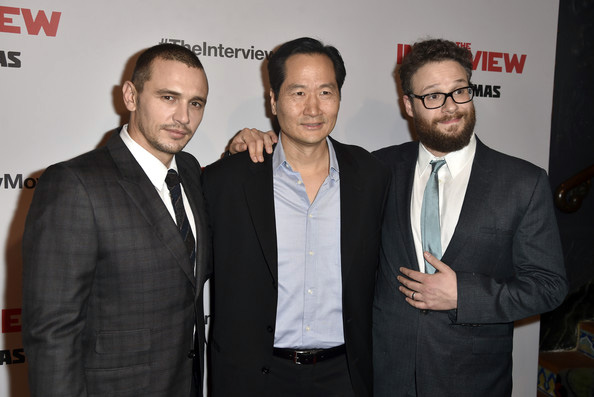 Charles Chun, Seth Rogen and James Franco at The Interview's premiere