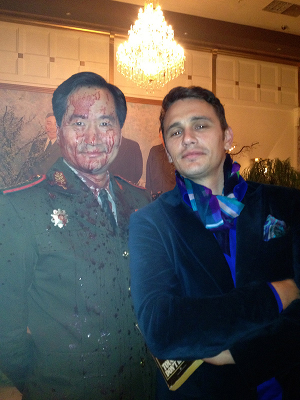 Chun and Franco in costume after a bloody scene