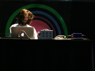 Lindstrøm with his setup at the DJ stage.